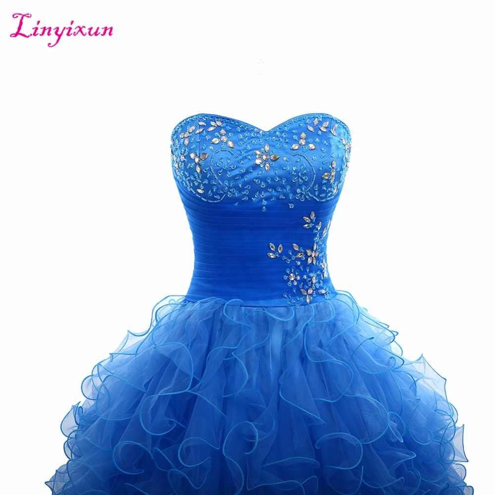 Linyixun Real Photo 2017 Azul Royal Vestidos Quinceanera vestido de Baile Sweetheart Frisada de Cristal Ruffles Saia Doce 16 Vestido Feito Sob Encomenda