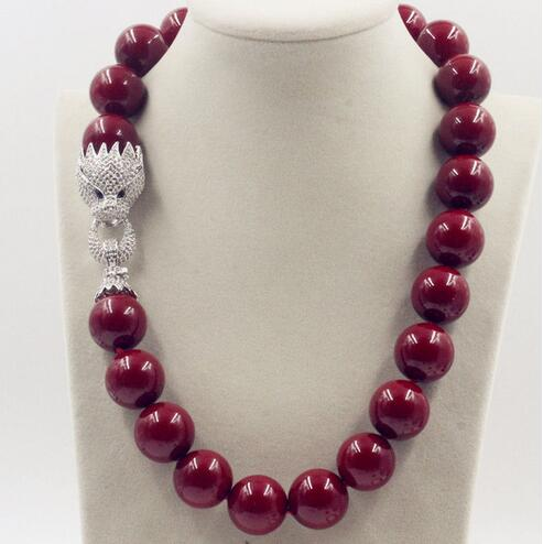 цена Huge 20mm Genuine Red Shell Pearl Necklace 18'' AAA Crystal Clasp>>>girls choker necklace pendant Free shipping