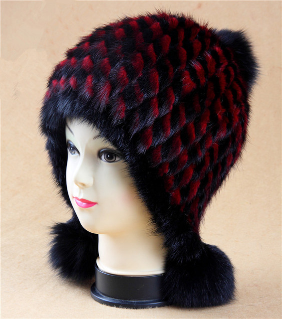 New fashion BrandS Elastic Panda design Natural Mink fur Cap with ear protector To keep warm Thickning Luxury female beanies