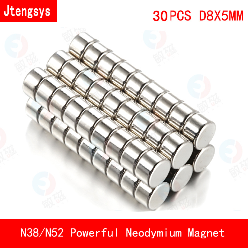 30PCS D8*5mm Powerful Round Magnets Rare Earth Neodymium N38 N52 8mm*5mm Counter Magnetic Tape Crafts Magnetite 8*5