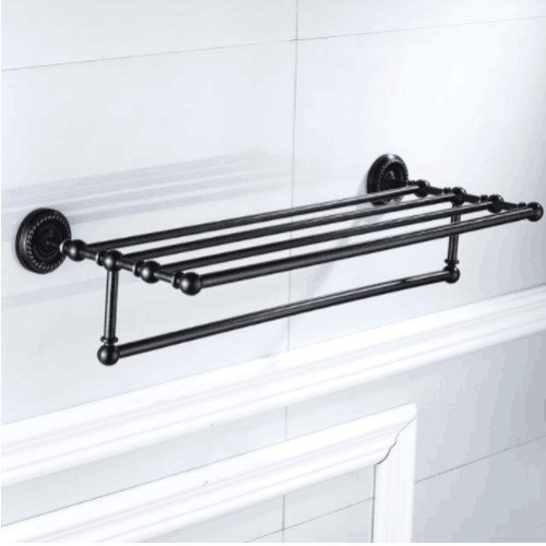 Black Oil Brushed Fixed Bath Towel Holder Wall Mounted Towel Rack 60 cm Towel Shelf Bathroom Accessories Luxury Brass Towel Rail whole brass blackend antique ceramic bath towel rack bathroom towel shelf bathroom towel holder antique black double towel shelf