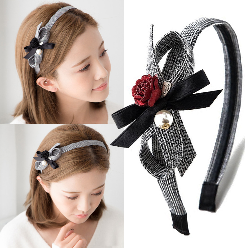 2017 New Girls Flower Pearls Hairbands Korean OL Style Lady Women Hot Sale Cute Hair Holders Accessories Fashion Hair Holders мужские часы romanson tl2632mc wh