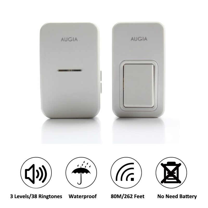 38 Ringtones Wireless Cordless Remote Doorbell Door Bell Chime,No need battery,Waterproof,110-220V wireless cordless digital doorbell remote door bell chime waterproof eu us uk au plug 110 220v