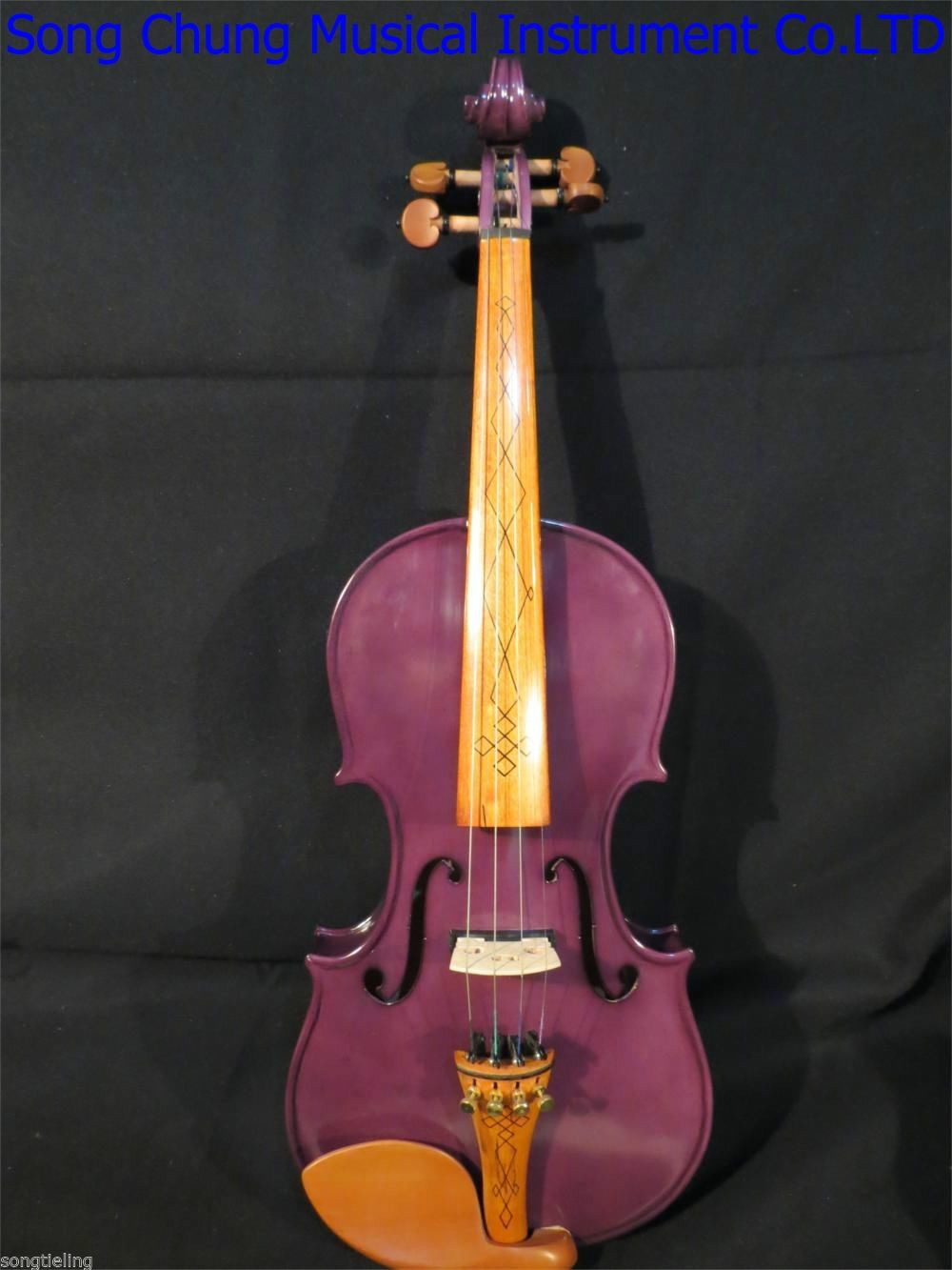 Purple color NEW model 4 strings 4/4 electric violin +Acoustic violin #8296