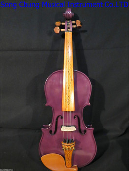 цена на Purple color NEW model 4 strings 4/4 electric violin +Acoustic violin #8296