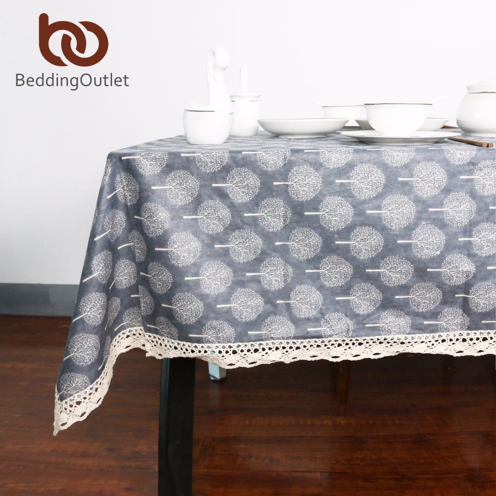 Beddingoutlet tree table cloth decorative coffee table cover cotton linen tablecloth for kitchen dinning living room