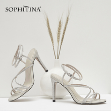 SOPHITINA New Fashion Narrow Band Women Sandals Basic Buckle Strap Thin Heel Shoes Summer Super High Heel Ladies Sandals PO161 цена