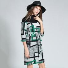 Women Autumn Wool Mini Dress 2018 Turtleneck Patchwork Dresses Female Plaid Pattern Vestidos Mujer Knitted Robe