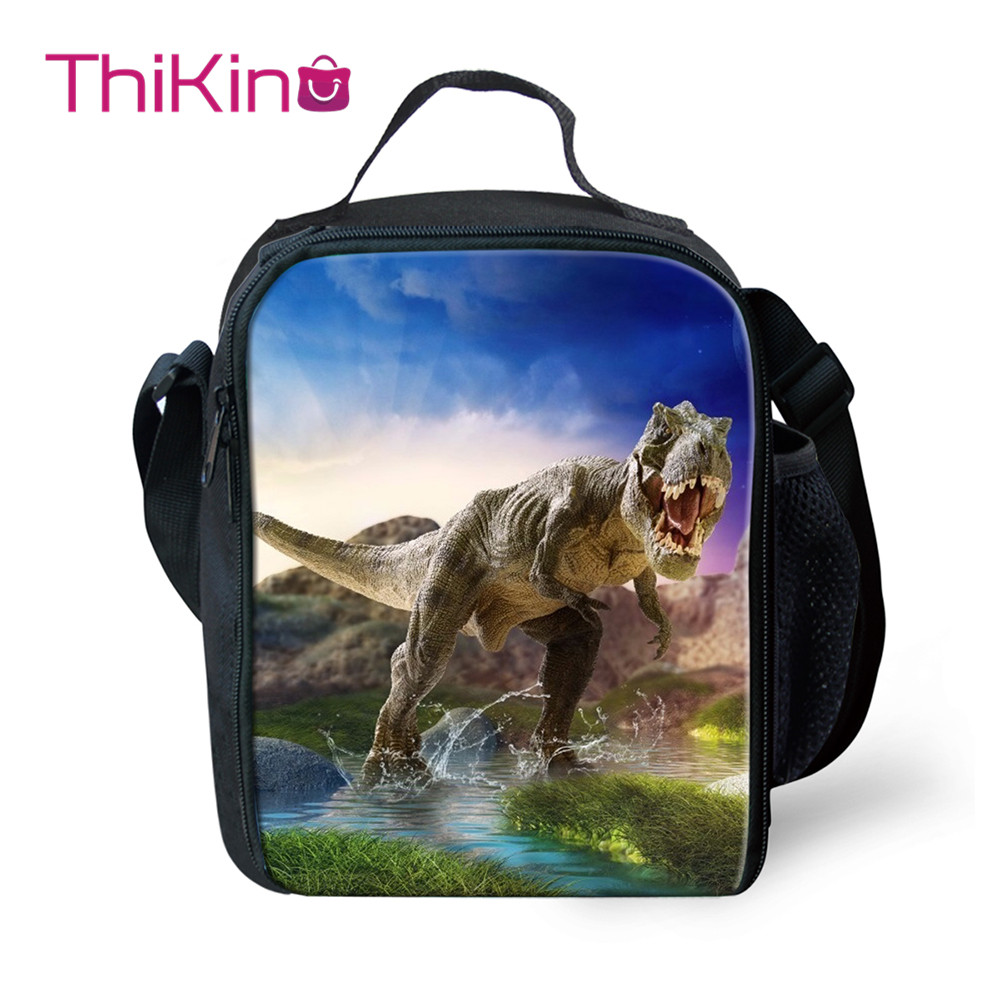 Thikin New Dinosaur Lunch Tote Bag for Boys Shark Small  Students Picnic Pouch Storage