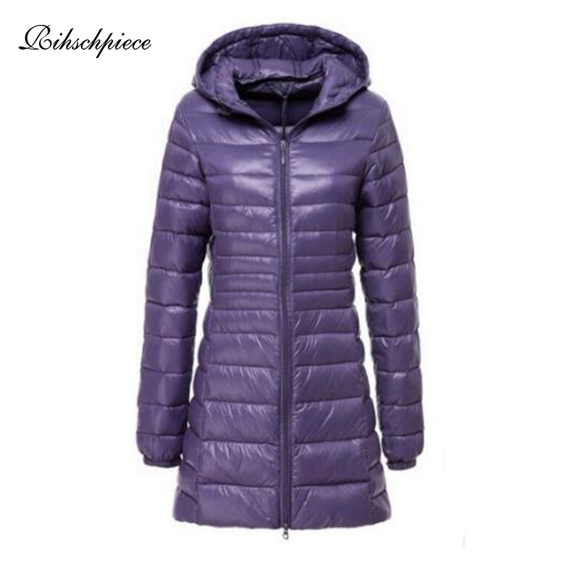 Rihschpiece 2018 Spring Plus Size 7XL Ultra Light Duck   Down   Jacket Women   Coat   Hoodie Long Puffer Winter Black Jackets RZF1454