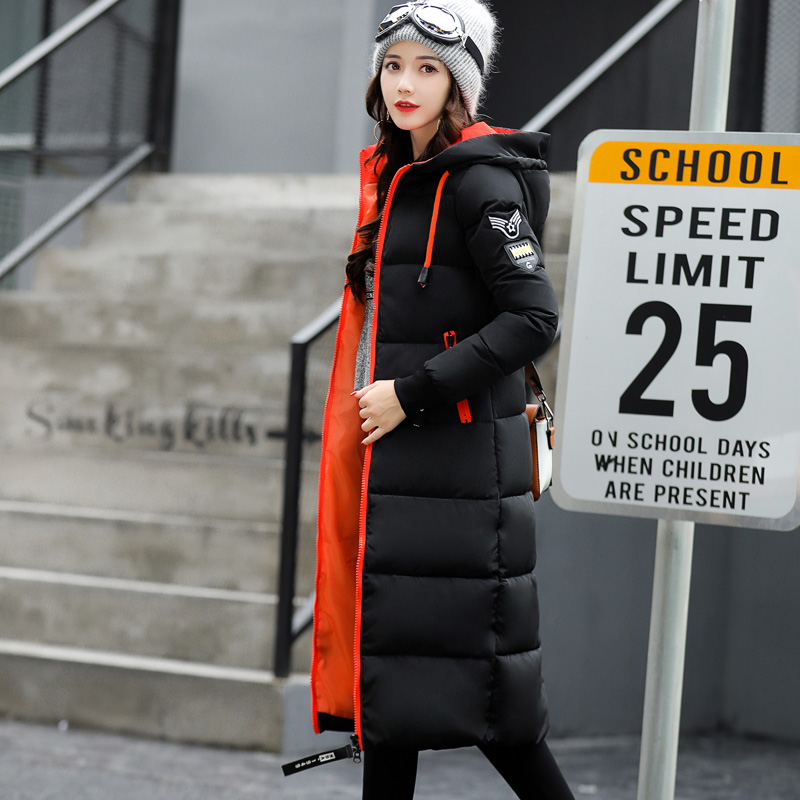 khaki Fashion Hooded Sleeve red Women A305 Parkas Jacket 2018 Winter black Warm Coat Armygreen Long Thick Overcoat white Female gray New Cotton Size Plus IBASwx