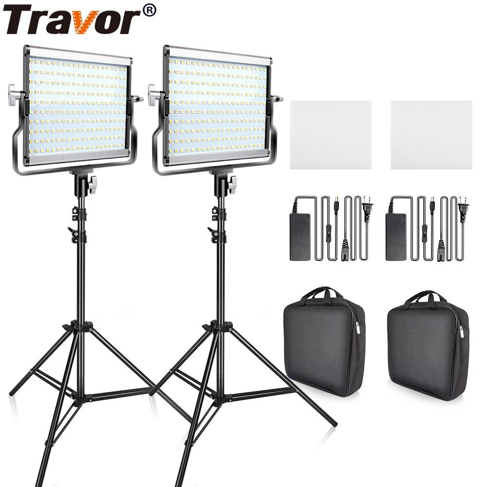 Travor Regulável Bi-color 2 conjunto Kit de Luz de Vídeo LED com U Suporte 3200 K-5600 K CRI96 e Saco para o Estúdio de Vídeo Fotografia Tiro