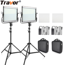 Светодиодный двухцветный светильник с регулируемой яркостью Travor, 2 комплекта, комплект с u-образным кронштейном 3200 K-5600 K CRI96 и сумкой для студийной фотосъемки и видеосъемки