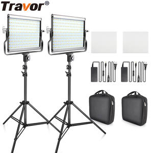 Travor Video-Light-Kit Studio Photography Bi-Color 3200K-5600K 2set LED with U-Bracket