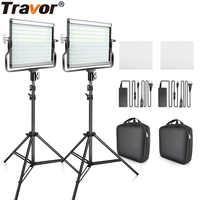 Juego de 2 juegos de luz LED de vídeo con soporte U 3200 K-5600 K CRI96 y bolsa para fotografía de vídeo de estudio