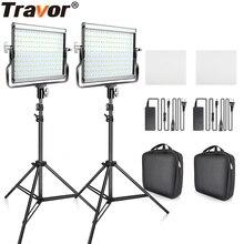 Travor調光可能な2色2セットledビデオライトキットuブラケット3200k 5600 18k CRI96とバッグスタジオ写真ビデオ撮影