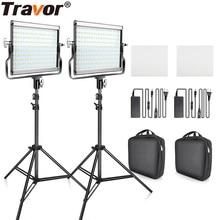 Travor Dimmable Bi color 2 세트 LED 비디오 라이트 키트 (U 브래킷 포함) 3200K 5600K CRI96 및 스튜디오 사진 용 가방 비디오 촬영