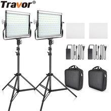 Travor pode ser escurecido bi-color 2 conjunto led kit de luz de vídeo com suporte de u 3200k-5600k cri96 e saco para fotografia de estúdio vídeo tiro