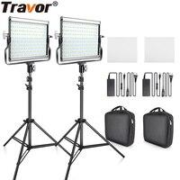 Travor Dimmable Bi color 2set LED Video Light Kit with U Bracket 3200K 5600K CRI96 and Bag for Studio Photography Video Shooting