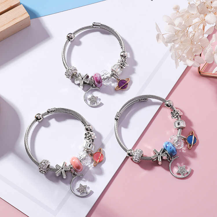 Korean Star Moon Pendant Crystal Beaded Bracelet & Bangle Retro Ethnic Saturn Bracelets for Women Holiday Charms Jewelry Gift