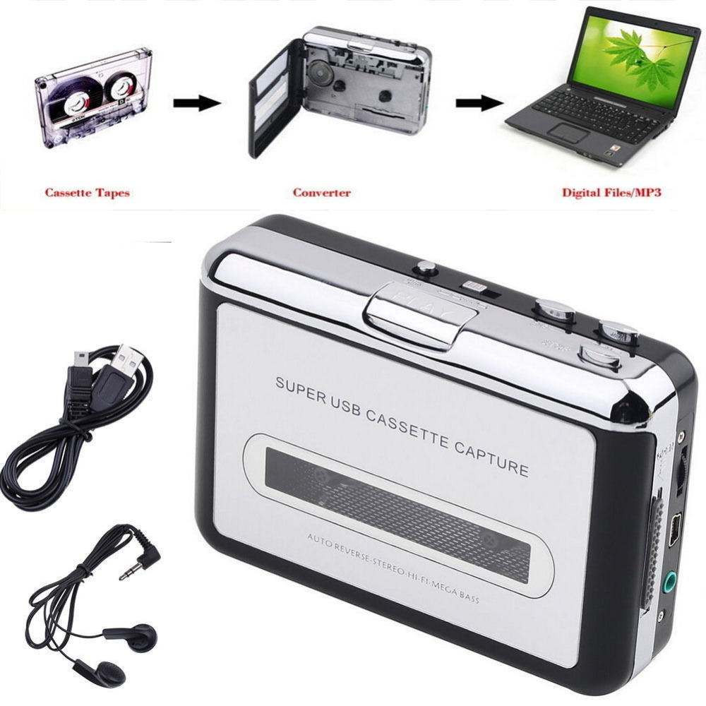 Old Cassette Tape Convert To MP3 WAV Format Audio Converter Cassette To PC USB Captuer Walkman Music Player With Free Earphone