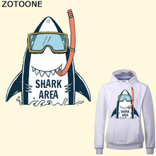 ZOTOONE Cartoon Shark Patch Iron on Transfers for Clothes DIY T-shirt Dresses Applique Letter Patches Stickers Badge Heat Press