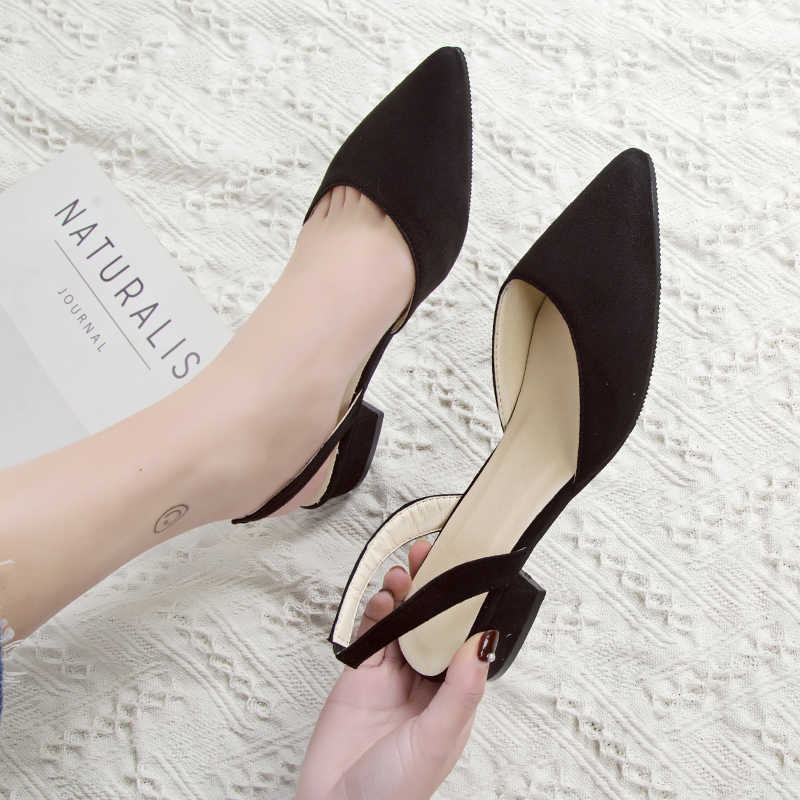Women's high-heeled shoes with pointed suede quality low-heeled shoes summer casual shoes 39 casual sandals new fashion