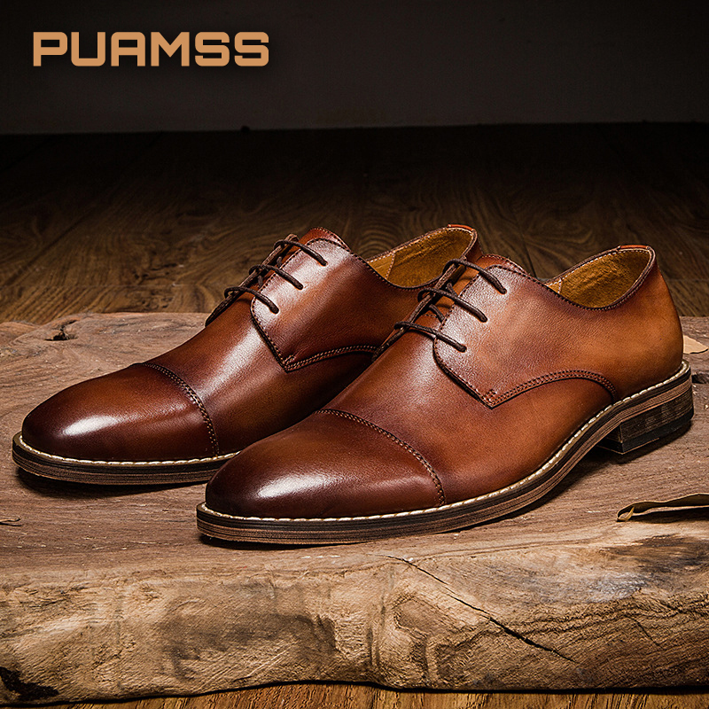Top Brand Men Shoes Top Quality Oxfords Male Italian Derby Genuine Leather Formal Shoes Men Flats