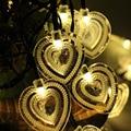 Guirlanda De Natal levou Luzes Da Corda Movido A Energia Solar Duplo Coração-shapped Xmas Iluminação Da Lâmpada Ao Ar Livre Luzes De Fadas Solares para Jardins