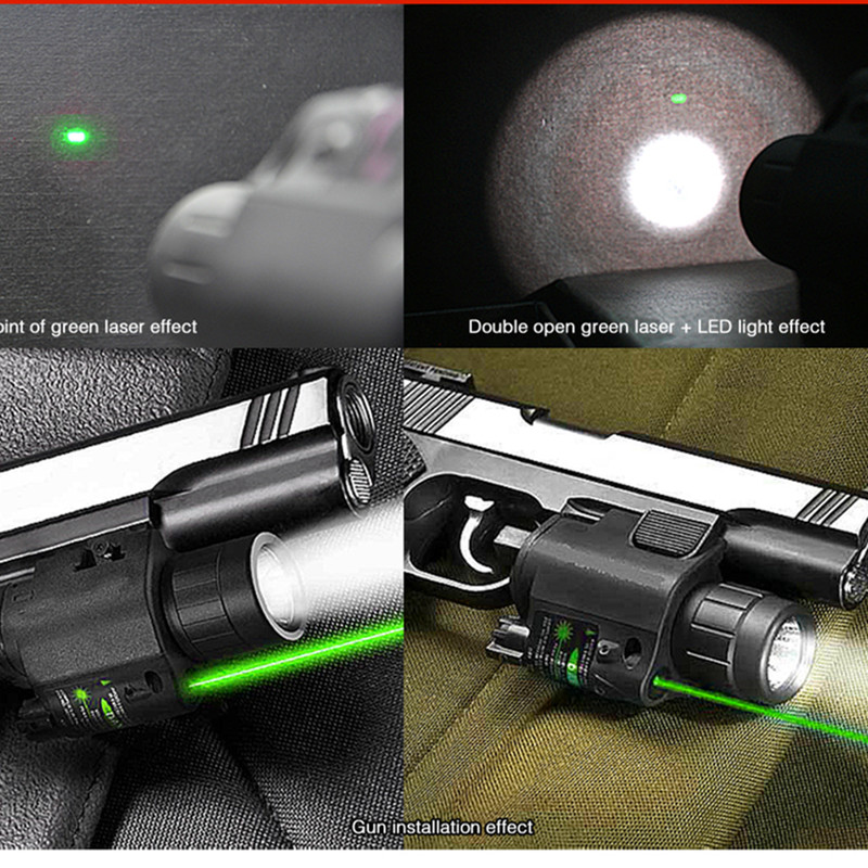 2in1 Combo Tactical CREE Q5 LED Flashlight/LIGHT 200LM +Green Laser Sight For Pistol/Gun Handgun Mira Laser Para Pistola ...