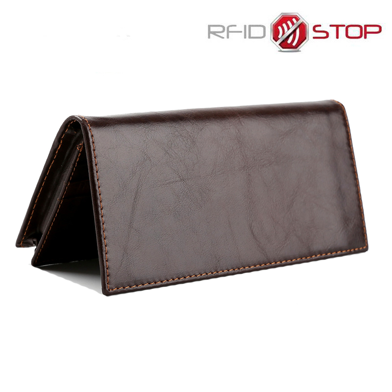 RFID Luxury Genuine Cowhide Leather Long Wallet For Men Multi Card Holders Coin Purse Fashion Designer Male Carteria Wallets vintage cowhide male long clutch wallets genuine leather men purse multi card holders for man pr588052