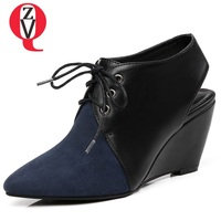ZVQ women shoes new kid suede high wedges pointed toe cross tied lace up green and blue outside concise leisure lady pumps