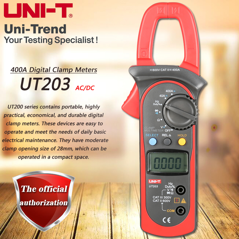 UNI-T UT203 400A AC DC Digital Clamp Meter Resistance / Frequency Test Duty Cycle Relative Measurement Digital Hold Auto Shutdow