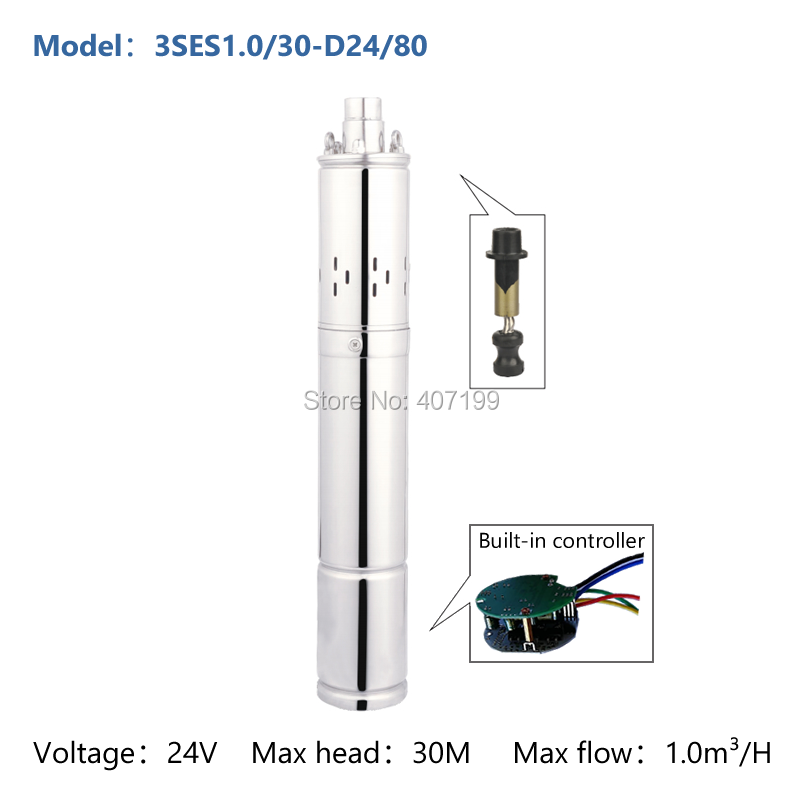 24v 36v DC deep well submersible solar water pump solar water pumping machine with internal controller 3SES1.0/30-D24/80 50mm 2 inch deep well submersible water pump deep well water pump 220v screw submersible water pump for home 2 inch well pump