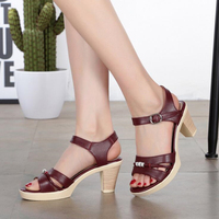 female sandals 2017 Summer new genuin leather thick high heel sandals comfortable sweet comfortable waterproof women's sandals