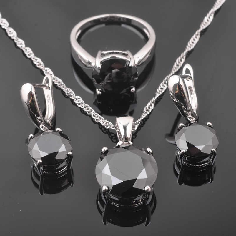 2020 חדש חתונת תכשיטים 925 סטרלינג כסף קלאסי שחור מעוקב זירקון לנשים קריסטל תכשיטי סטי מכירה לוהטת QS0218