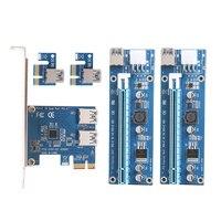 PCI E 1 To 2 PCI Express 1X Slots Riser Card With 2pcs 6pin Riser Card