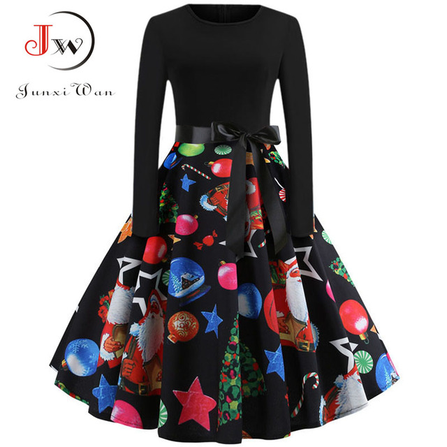 Winter Women Christmas Dress Long Sleeve Print Vintage Party Dress Elegant Black Patchwork Bodycon Dresses Vestidos Plus Size 3