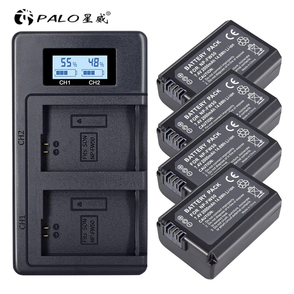 4 pc NP-FW50 NP FW50 FW50 batería + LCD cargador Dual USB para Sony A6000 5100 a3000 a35 A55 a7s II alfa 55 alpha 7 A72 A7R Nex7 NE