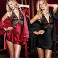 2 PCS Sexy Robe De Seda Lingerie de Renda Vestir Mulheres Sleepwear Camisola vestido de Roupão de banho