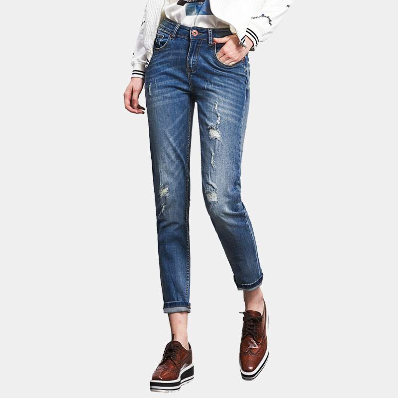229e98fe2d7 2018 LEIJIJEANS Spring Plus Size Fashion Ripped Hole Bleached Stretch Mid  Waist Casual Women Loose Straight Full Length Jeans