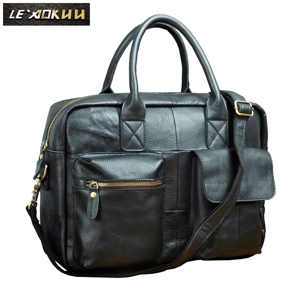 все цены на Quality leather Men Fashion Handbag Business Briefcase Commercia Document Laptop bag Black Male Attache Portfolio Tote Bag b331b онлайн