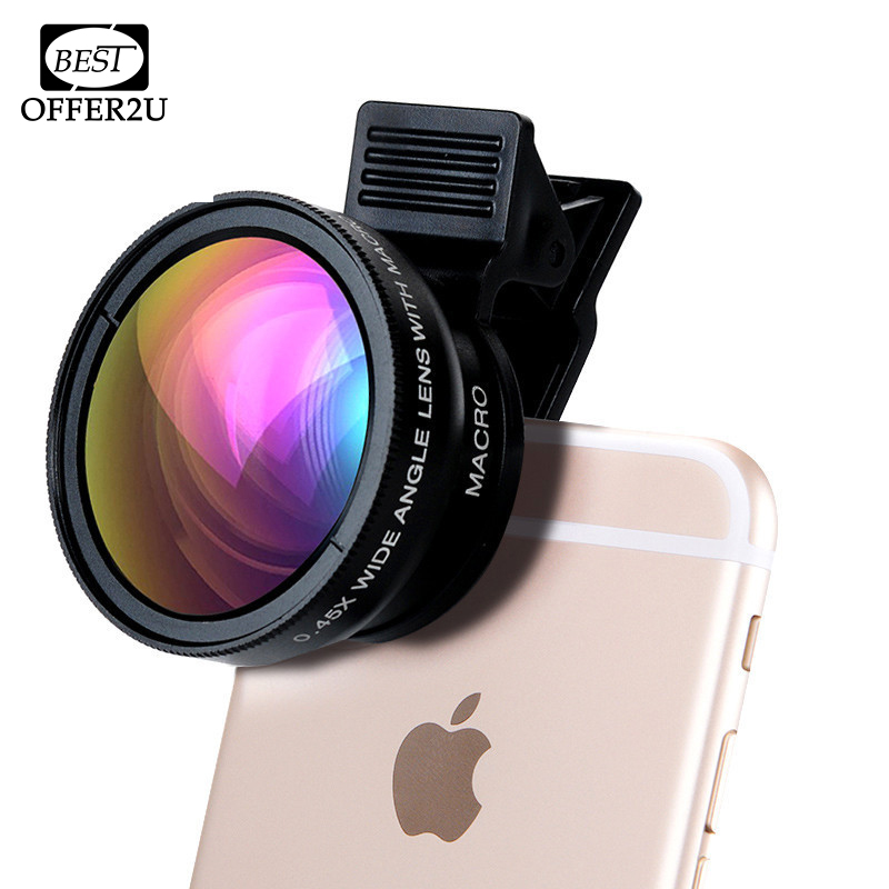 Professional HD Phone Camera Lenses 0.45X Wide Angle 12.5X Macro Lens With Clips