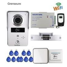 Freies Verschiffen Drahtlose WIFI IP Türklingel Kamera RFID Video Intercom für Phone Remote View Entsperren + Glocke Strike Tür E-Lock