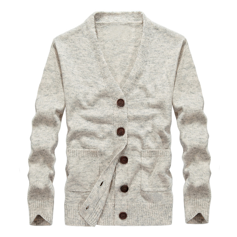 Drop Shipping New Autumn Men Sweaters Male Knitted Cardigans Solid Khaki Gray Color Size S-XXL XP09
