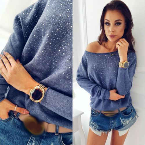 New Fashion Casual Women's Knit Sweater Jacket Sweater Diamond Loose Long Sleeve O-neck Pullover Hot Drill Knit Sweater Cotton