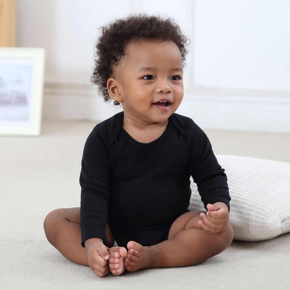 Детские комбинезоны для новорожденных из 3 предметов, детские комбинезоны унисекс, однотонные черно-белые детские комбинезоны с длинными рукавами, комбинезон, хлопковый комплект одежды для малышей
