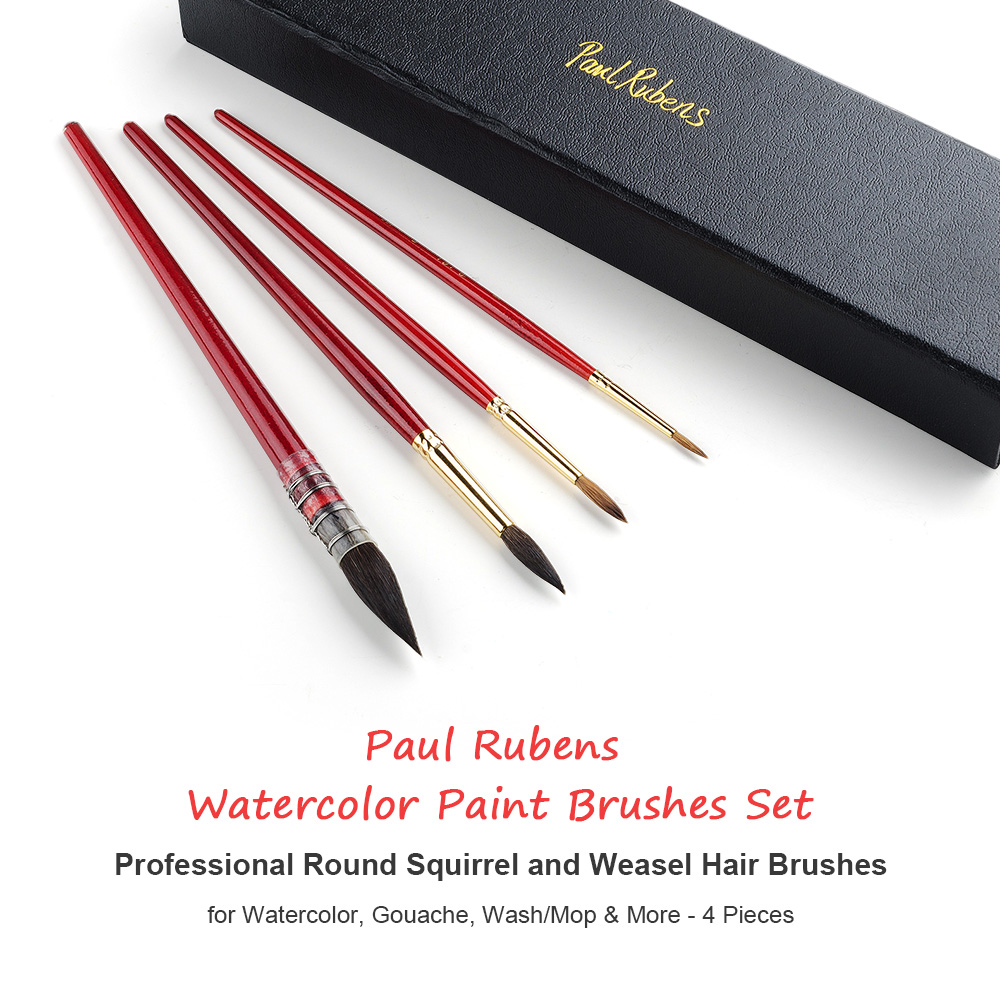 Rubens Watercolor Paint Brushes 4PCS Set Professional Round Squirrel(2PCS) and Weasel(2PCS) Hair Brushes for Painting Gouache