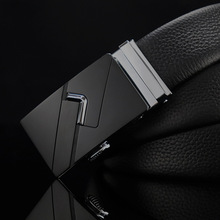 Leather cowhide new simple luxury brand mens leather business quality belt high automatic buckle