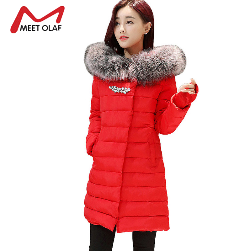 2017 Faux Fur Hooded Winter Jackets Women Winter Coats Knitted Gloves Female Cotton Padded Parkas Overcoat abrigos mujer Y1687 2017 new winter coats women winter short parkas female autumn cotton padded jackets wadded outwear abrigos mujer invierno w1492